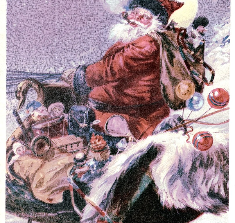 A drawing of Santa Claus with a pipe on his sleigh.