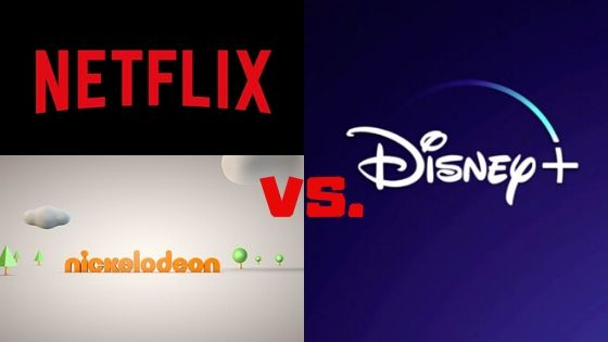 The Netflix, Nickelodeon logo on the left half side and Disney Plus logo on the right side
