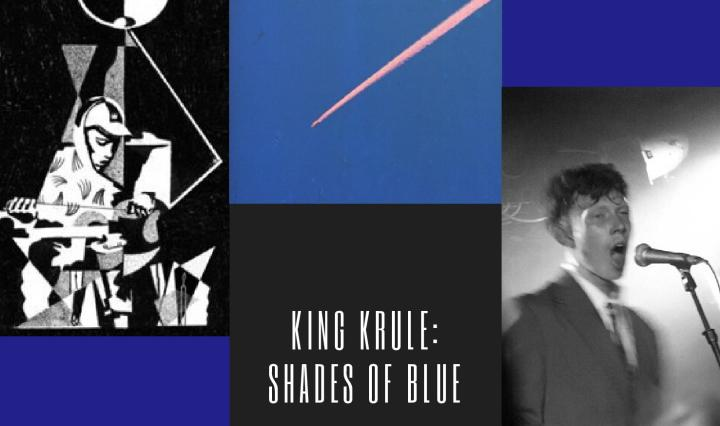 A collage featuring his first album cover, which is a black and white artwork of him playing guitar under the moon, the second album cover, a blue sky with a single red trail leading from the top right corner and the third image is a black and white picture of Marshall in live performance.