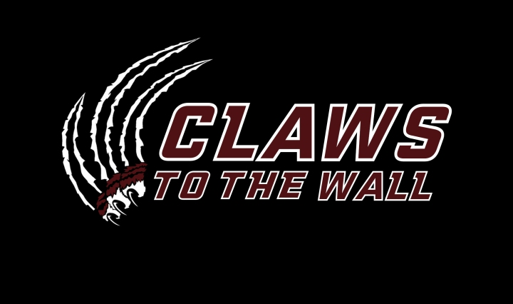 "Podcast logo for Claws to the Wall. A bobcat claw is ripping through the black background next to the words ""Claws to the Wall."""