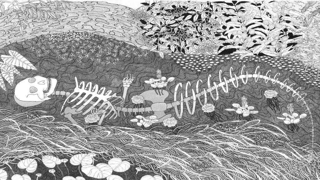 An illustration of a skeleton lying in a riverbed.