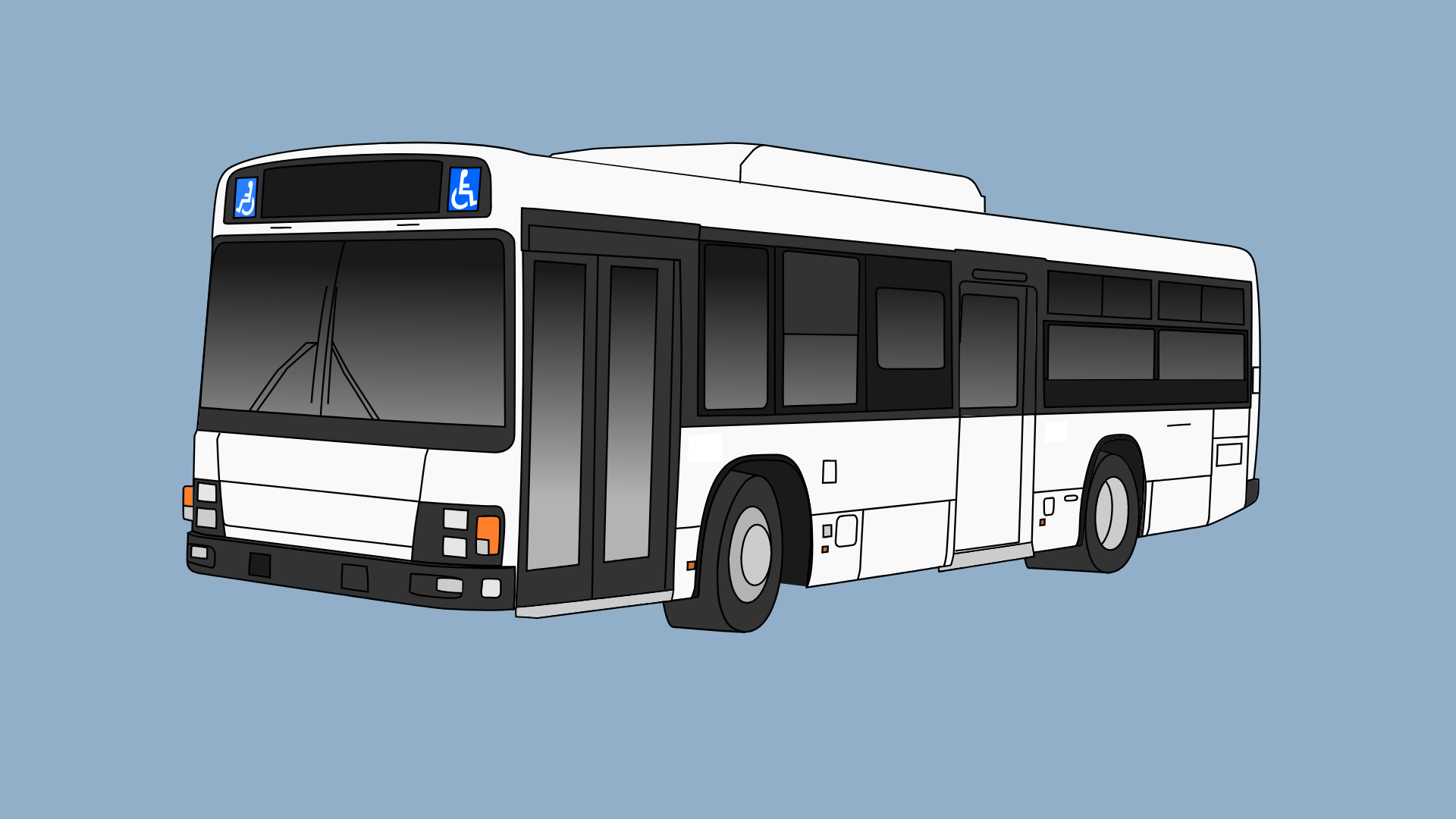 Foggy grey background with a white and black bus in the middle