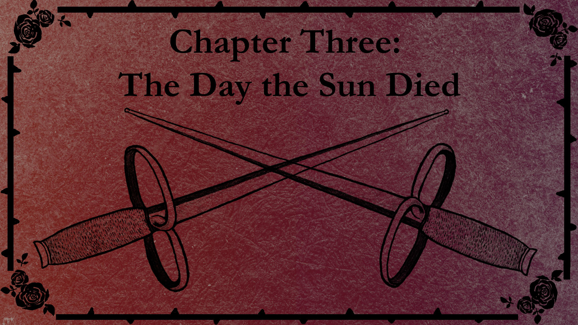 Chapter Three title slate with a drawing of Harold's fencing foils.