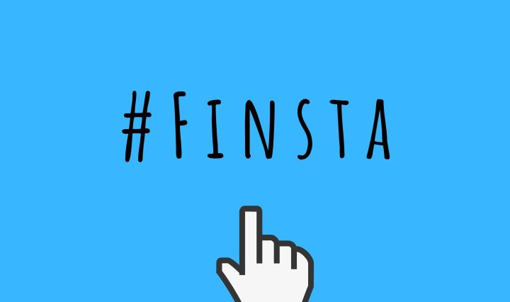 "blue background with a mouse curser clicking the words ""#FINSTA"""