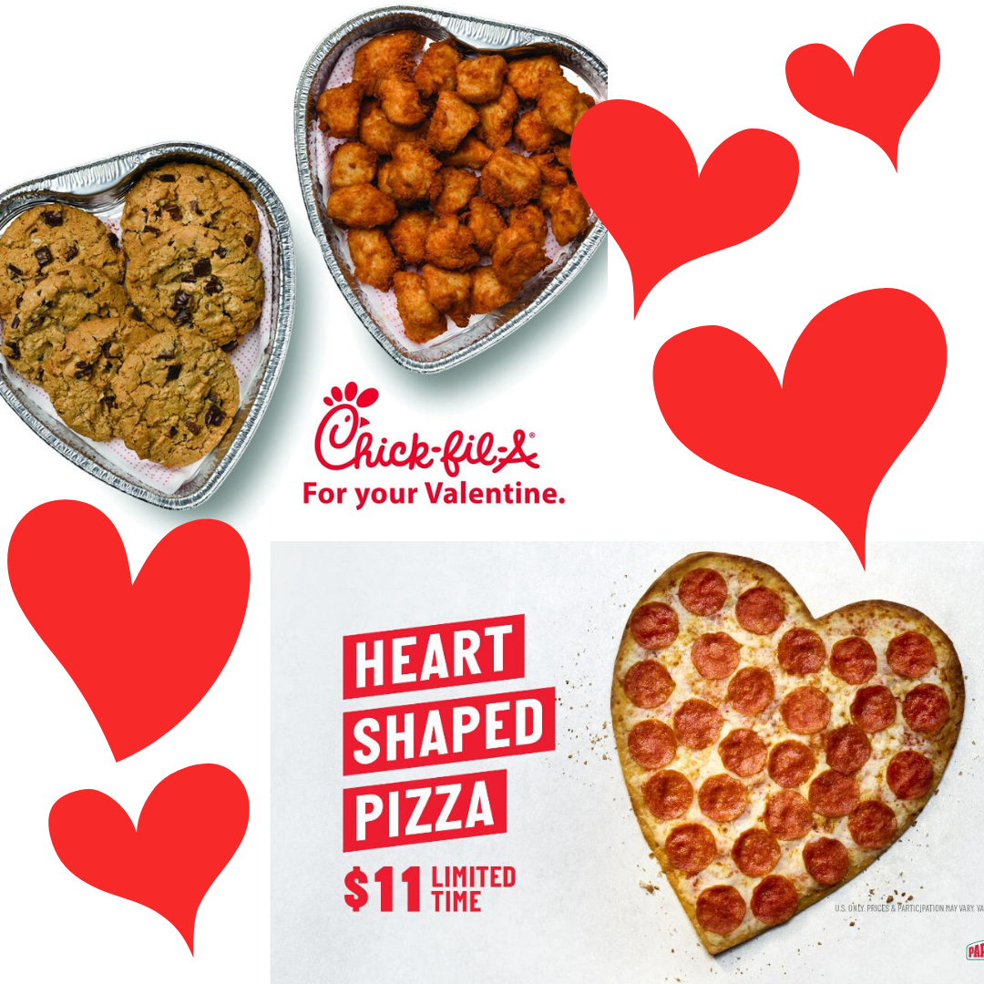 Photos of heart shaped Chicfila platters and a Papa Johns heat shaped pizza with animated hearts around them.