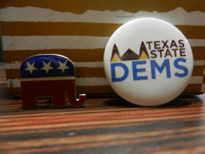 Pins obtained from TXST College Republicans and College Democrats