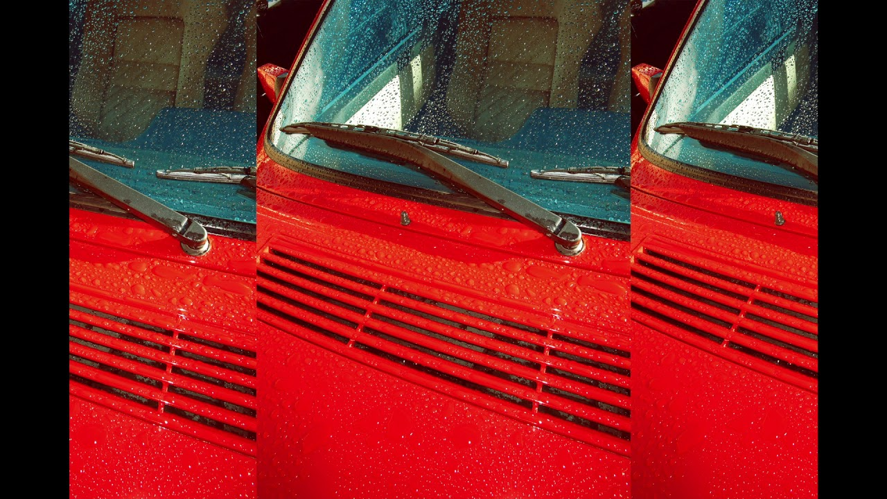 This is a trifold image of the hood and windshield of a red glossy car with water droplets spread sporadically.