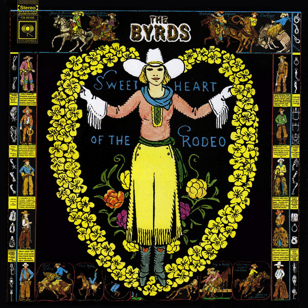 A wreath comprised of what appears to be hand drawn yellow flowers with a woman in a cowboy hat standing in the center. Smaller images of cowboys line the outside edges of the picture as well.