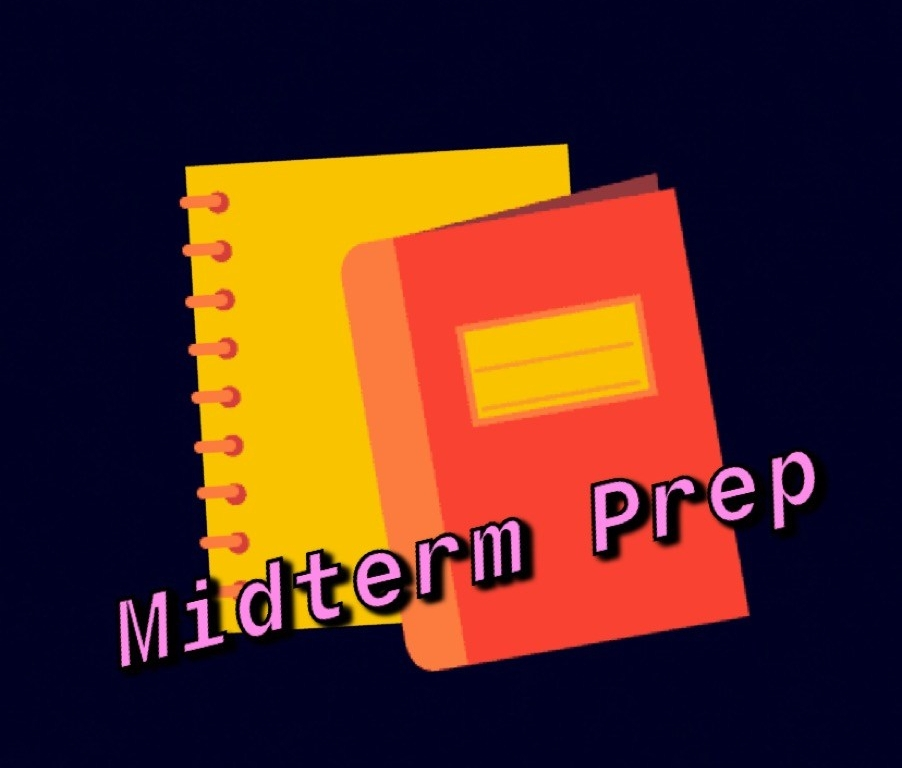 Two notebooks with font saying midterm prep