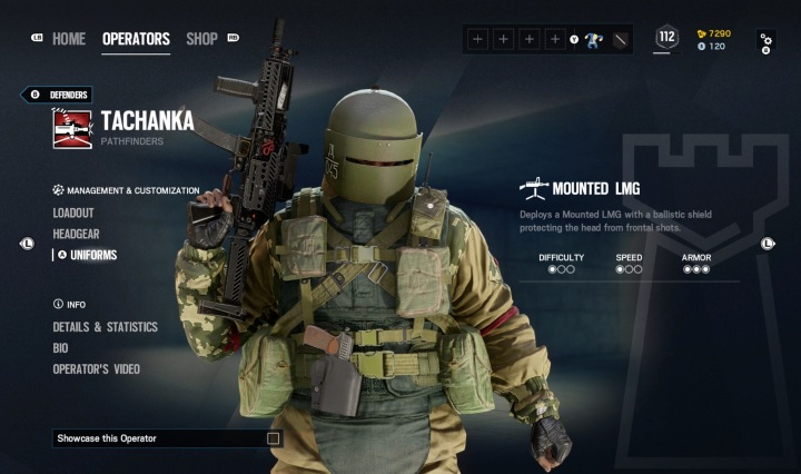 Tachanka stands roughly center, with stats to the right of him and customization options to the left.