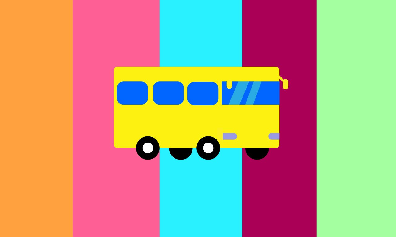 Yellow bus on a multicolored striped background