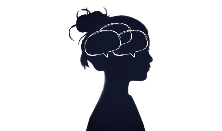 Silhouette of a girl with thought bubbles in her head.