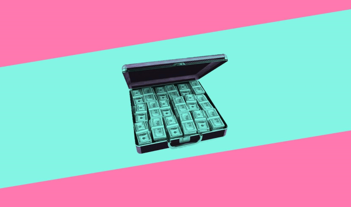 pink and turquoise striped background with a briefcase filled with money in the middle