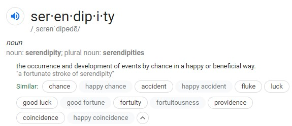 "Google's definition of ""serendipity"""