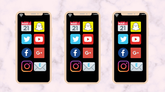 Three iPhones with social media icons on the home screen