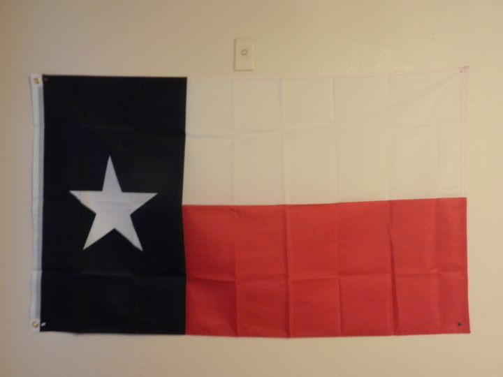 A Texan flag on display
