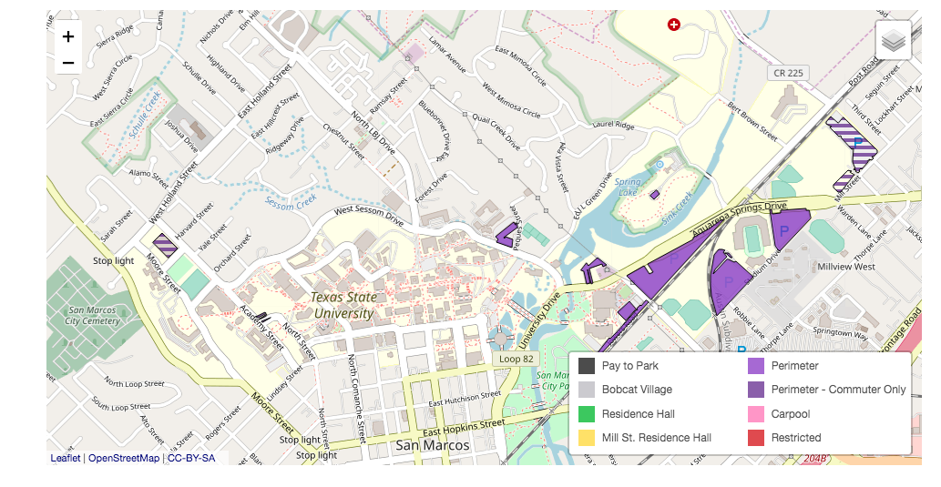 Map of the commuter parking lots at Texas State University.