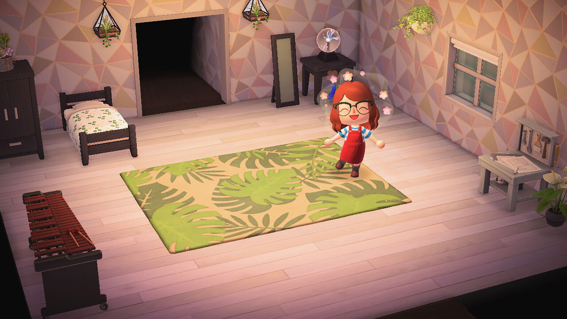"""Animal Crossing: New Horizons"" screenshot of my character posing in my in-game house."
