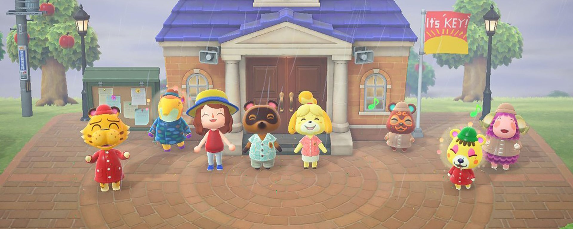 """Animal Crossing: New Horizons"" screenshot of my character posing with animal villagers for a picture."