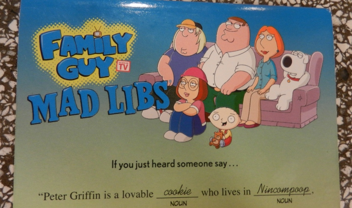 A Family Guy version of Mad Libs sits on a countertop.