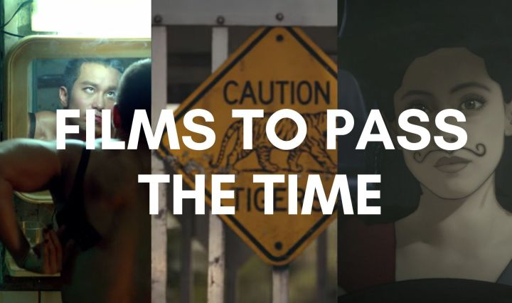 "a combination of screenshots from films with the text ""Films to pass the time"" on top"