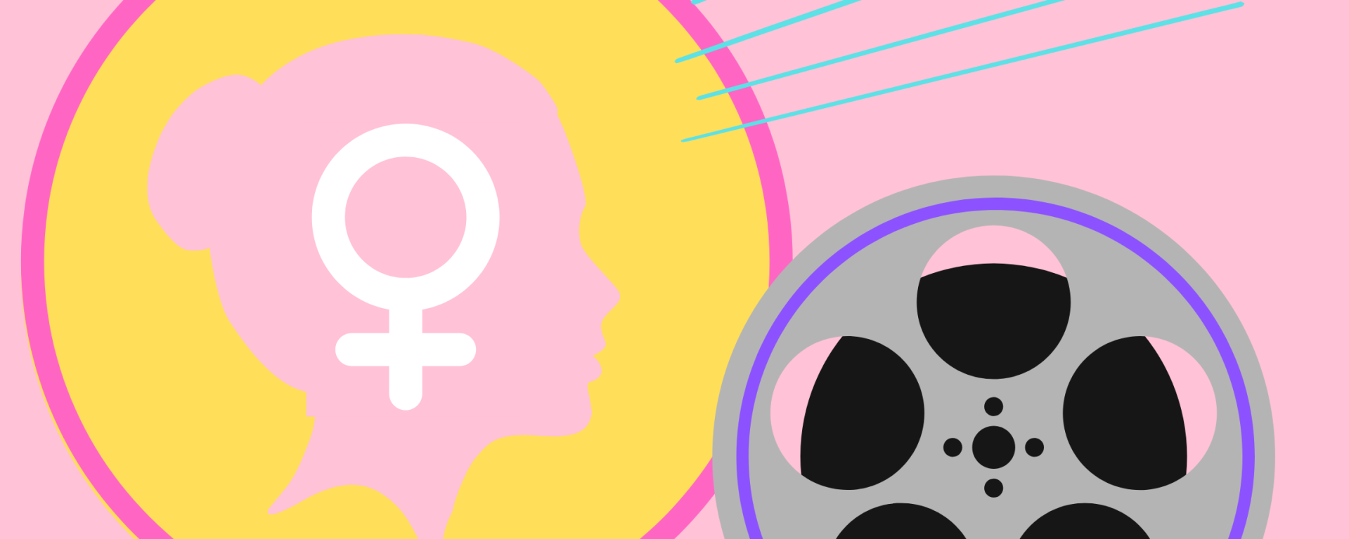 pink background featuring a film reel and a women's head silhouette