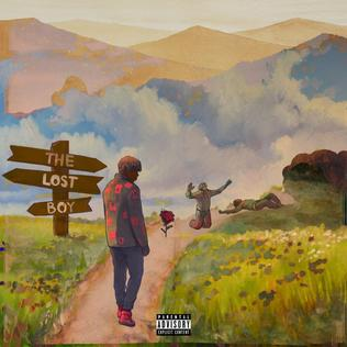 "he album cover shows Cordae walking down a road with what looks like bodies laying on it and a rose before them. There's a sign that reads ""The Lost Boy"""
