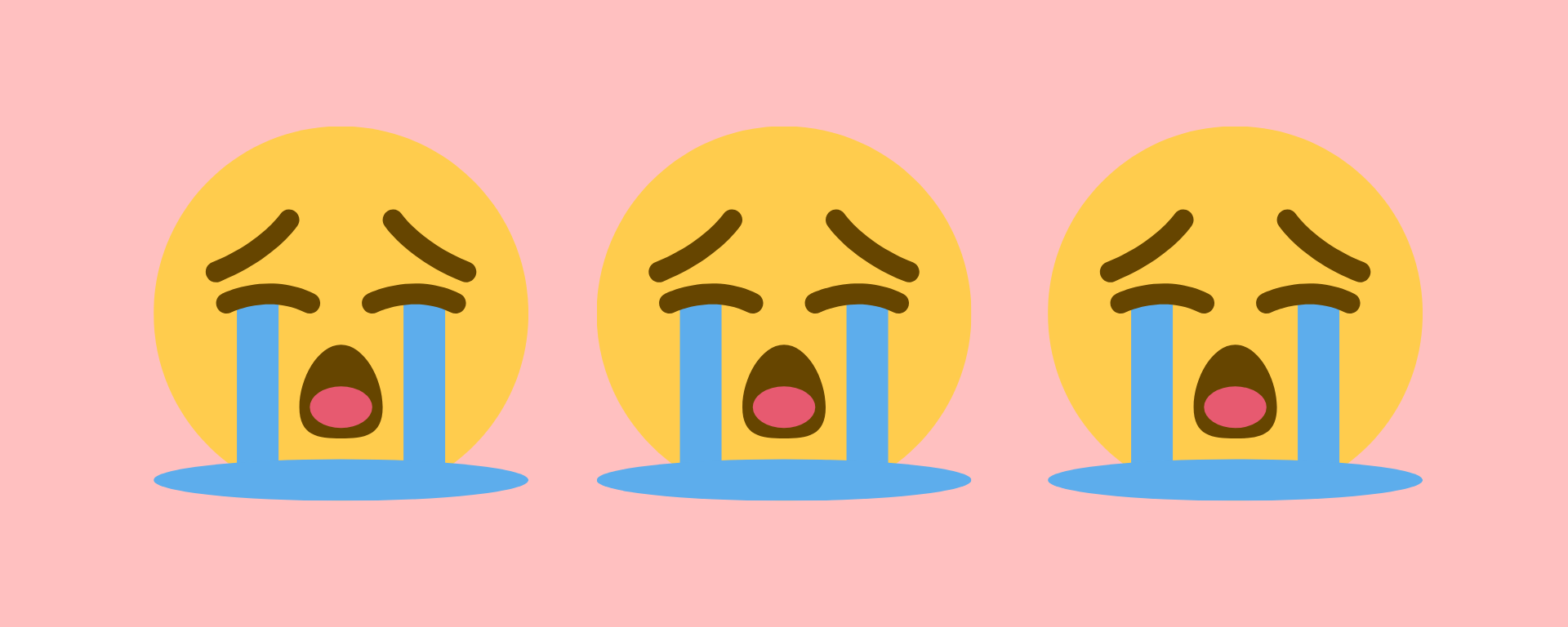 Three yellow sad crying face emojis on a pink background