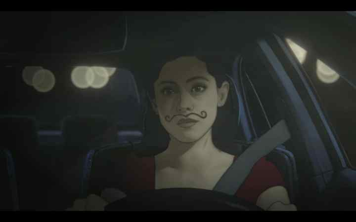 screenshot from Undone of Alma in her car with a mustache drawn on