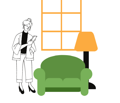 Graphic of woman standing up next to a couch and a window. Description- Animated visual of a woman on her phone standing up next to a green couch and lamp. There is an orange window and orange lamp shade also in the graphic.