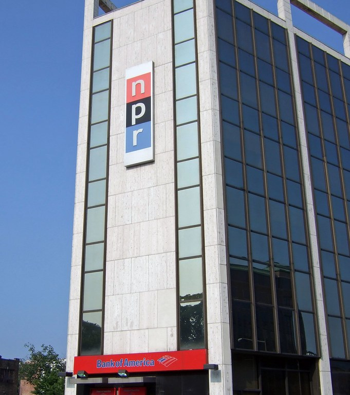 NPR logo on the outside of their office.