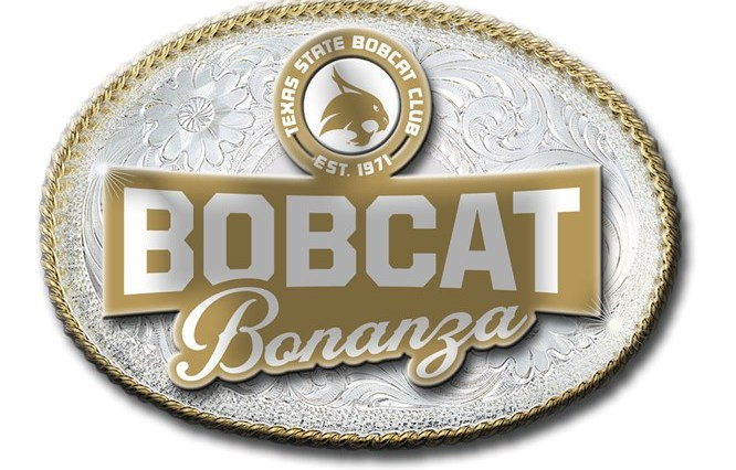 "An image of a gold and silver belt buckle that reads ""Bobcat Bonanza"" and has the Texas State Bobcat Club logo above the ""Bobcat Bonanza"" title."