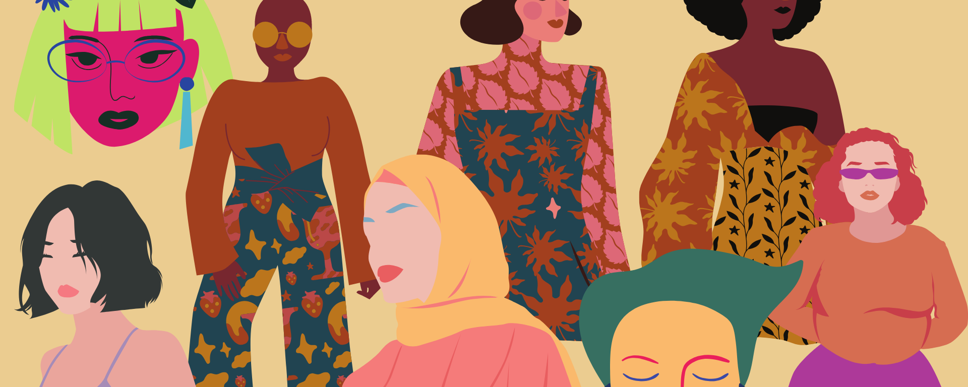 multiple drawn pictures women of shapes and colors stand in front of a beige background