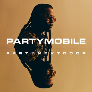 "This is a picture of PARTNEXTDOOR with his name and ""PARTYMOBILE"" across the cover and his face reflected horizontally across the cover."