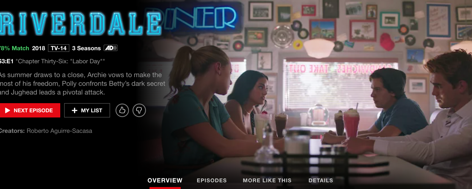 "A Netflix toolbar with the ""Riverdale"" description to the left then a picture of two women and men sitting at a diner booth to the right"