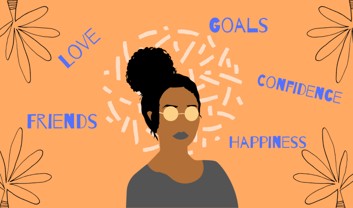 A drawing of a brown skin tone girl wearing shades with blue words of affirmation