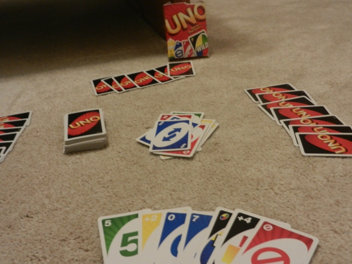 Uno game layout spread out ready to play.