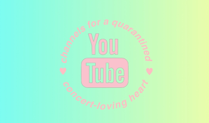 "In the background you can see a blue to yellow gradient. In the foreground the youtube logo is in the center with the words, ""channels for a quarantined heart"" going around it in a circle. All text is in a baby pink color."