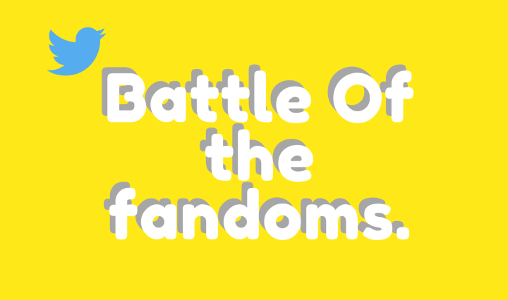 Battle of the fandoms writing in white with a grey shadow on a yellow background