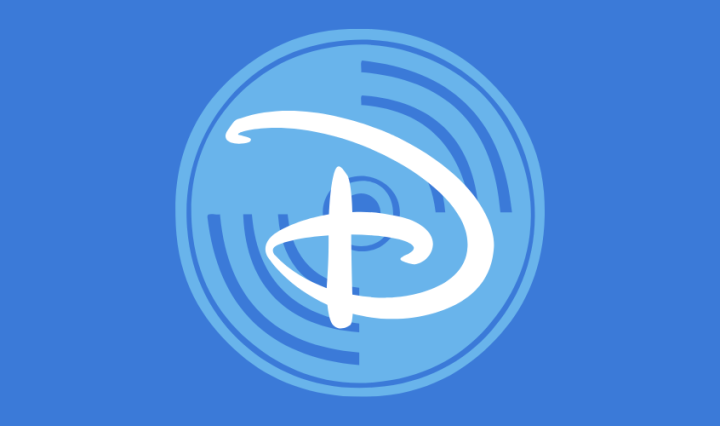 "A royal blue background with a light blue record disk with the Disney ""D"" logo in the center."