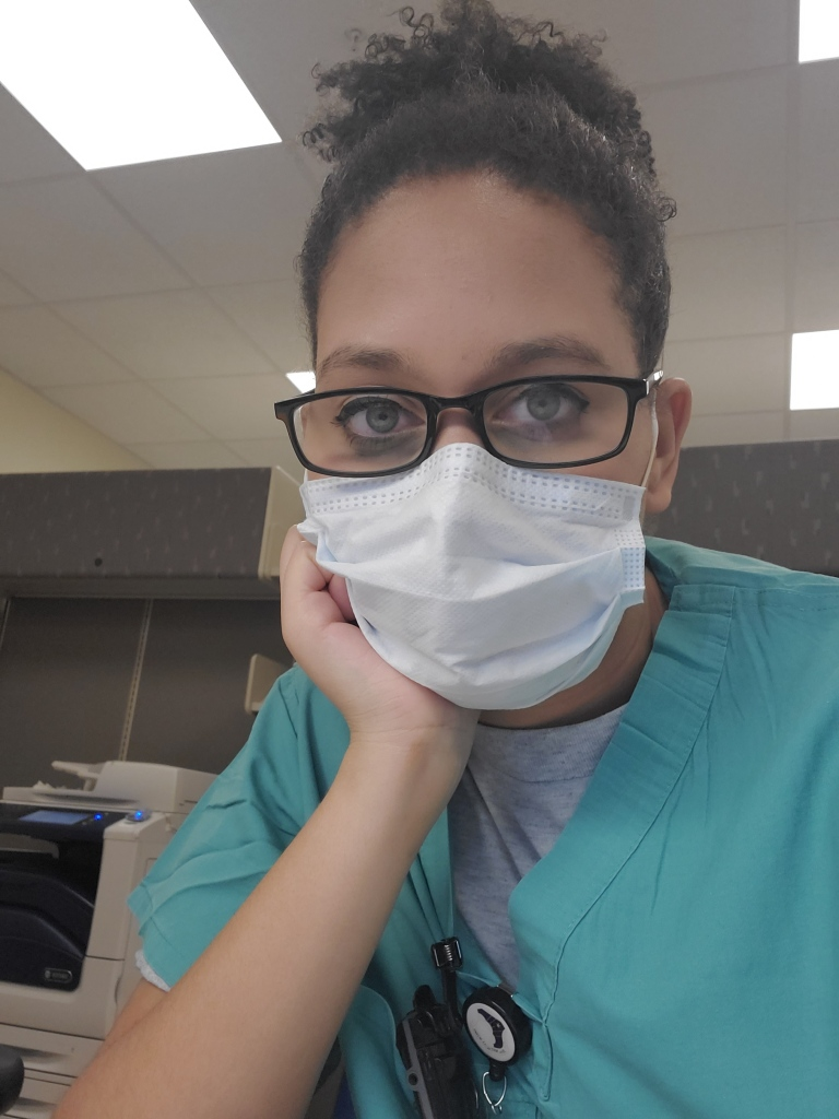 Selfie taken by Emergency Medical Technician Marissa Cyphers while in her face mask