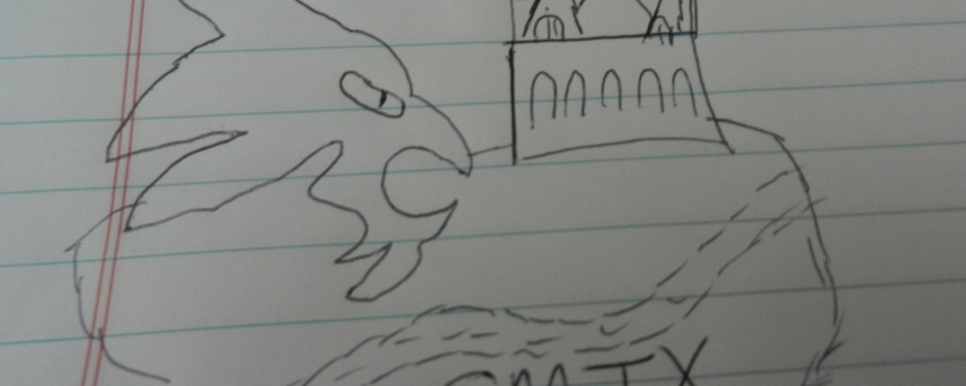 A drawing of Old Main and TXST Bobcats making up San Marcos.