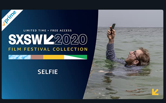 Amazon prime logo and SXSW logo over a photo of a man drowning to keep his phone above water