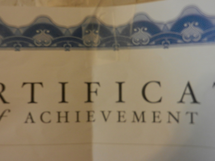 A shot of a part of an achievement certificate.