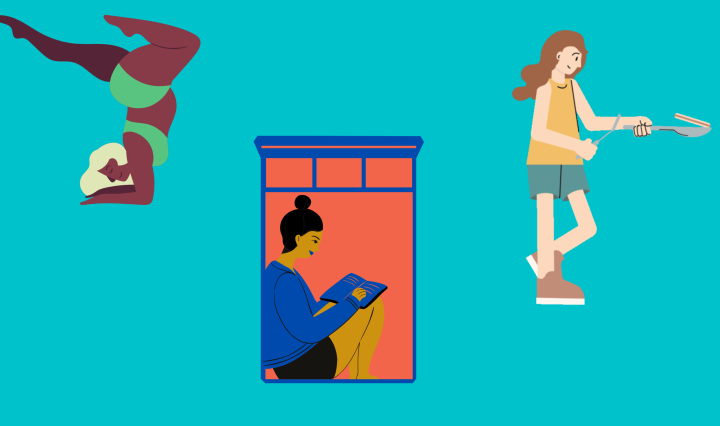 Images on aqua background depicting girl doing yoga, girl reading, and girl with pan.