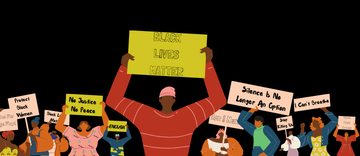 "The Image contains multiple black people holding signs in protest that say ""Black Lives Matter"", ""I' Can't Breathe"" and multiple others."