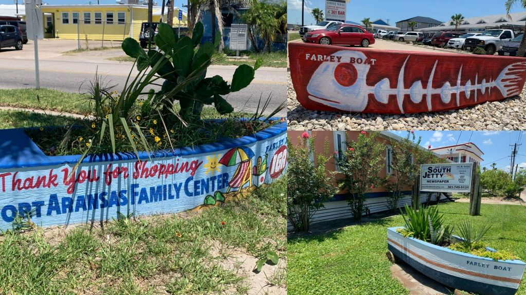There is a collage of three photos outside of businesses in Port Aransas. Each has a Farley boat and the photo in the top right has the Farley boat painted with a fishbone by Dinah Bowman.