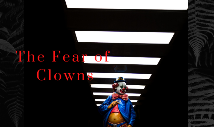 "An image of a cartoon clown with the text ""the fear of clowns."" The clown is walking down a dark hallway lit with overhead lights."
