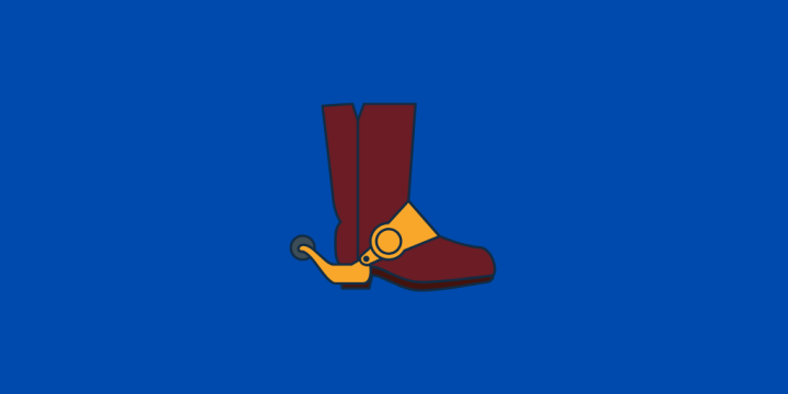 Cowboy boot on blue background