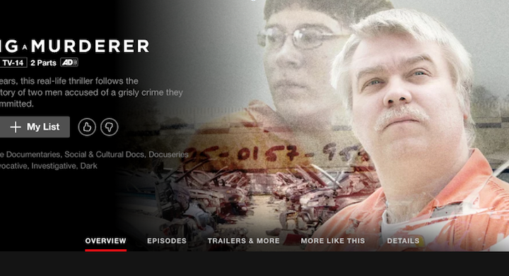 A screenshot of the popular true crime show, Making A Murderer, on Netflix.